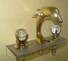 Gold clour widespread bathroom Lavatory dolphin Sink faucet crystal handeles