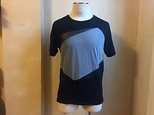 ZARA MAN BLACK GREY COLOR BLOCK & FAUX LEATHER SUEDE TRIM T SHIRT S XL 44 EG