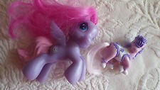 My Little Pony Horse Lot 2 Small Purple Star 2009 Hasbro Mini Pink Plastic Toy