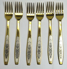 Antique Rare Russian 925 Silver Gold Plated Set of 6 Forks w / Niello Decoration