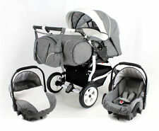 DUO STARS ADBOR DOUBLE PRAM -TWINS +2 car seats--certified to BS 5852;NEW FRAME!