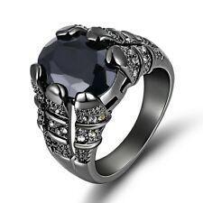 Men's Band Size 8 Band Black Sapphire 10KT Gold Filled Fashion Engagement Ring