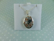 Sterling Silver & Rose Gold 925 Oval Locket and 20'' Chain