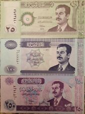 IRAQ SADDAM HUSSEIN IRAQI GULF WAR DINAR UNC (3) BANKNOTE COLLECTOR SET RARE !!!