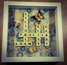 """***PERSONALISED SCRABBLE ART PICTURE FRAME 9x9"""" Christmas/B'Day/Wedding"""