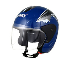 MP Glory Blue STK Track Paint Open Face Motorcycle Scooter Helmet with ISI Mark