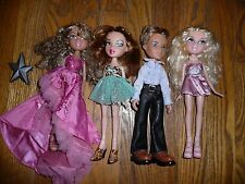 Lot of 4 BRATZ DOLLS Clothes PARTY DRESSED & Hair Combed Clothes MGA PROM Dance