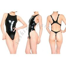Sexy Womens One-Piece Leotard Top Bodysuit Swimsuit PVC Leather Cross Back Thong