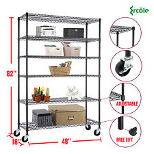 "82""x48""x18"" Heavy Duty 6 Tier Layer Wire Shelving Rack Steel Shelf Adjustable"