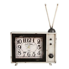 Retro Style Large TV Clock – Vintage Style  – Novelty – Metal – Large – Silver
