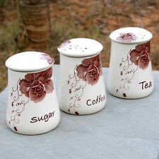 3 Piece Vintage Style Kitchen Canisters CERAMIC Containers Jars SUGAR TEA COFFEE