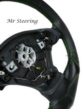 BLACK ITALIAN LEATHER STEERING WHEEL COVER FOR TOYOTA MR2 MK2 90-98 GREEN STITCH