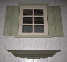 Vintage Window Mirror With Shutters-Wall Hanging-Home Interiors Including Shelf
