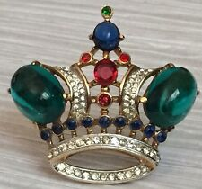 Collectable AD PIECE 1940s Trifari Regal Crown Green Jelly Belly Gold Plate Pin