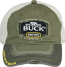 BU89075 Buck Knives Buck Baseball Cap Green/Yellow Distressed Construction One S