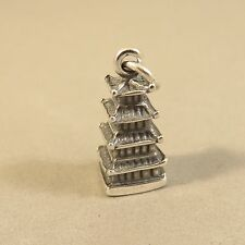 .925 Sterling Silver 3-D PAGODA CHARM NEW Pendant Asian Chinese Japan 925 TR101
