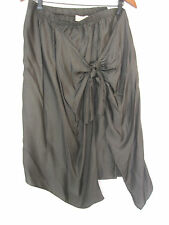 PURE DKNY Chic Green Gray Taupe Color Earthy Wrap Tie Skirt Size L