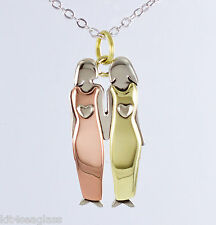Far Fetched 2 Sisters NECKLACE Girlfriend Family Silver Chain Gift Box Free Ship