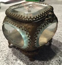 Vintage 1905 Victorian Glass & Brass Jewelry Casket Ring Box