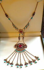 Unusual Long Necklace,Antique Gold pendant,Ruby Turqouise Necklace,Ethnic boho