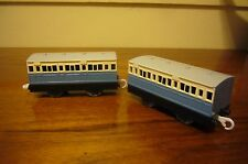 2 Sky Blue Passenger Coaches Thomas Trackmaster Tomy Motorized Train Lot