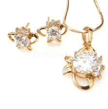 18K Yellow Gold Plated Simulated Diamond Fish Stud Earrings Necklace Set