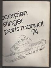 1974 SCORPION STINGER SNOWMOBILE  PARTS  MANUAL USED