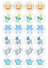 24 Edible Baby Shower Boy Iced Topper for Cupcake Fairy Cake Decoration