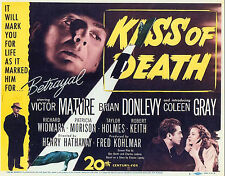 "KISS OF DEATH, 1947, top quality 11"" x 8.5"" REPRODUCTION of US poster,matt paper"