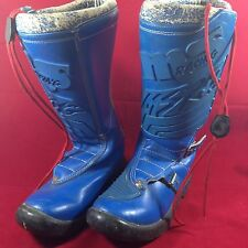 VINTAGE MALCOLM SMITH RACING MSR MOTOCROSS BOOTS ITALY BLUE - Size 7-8