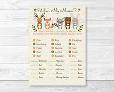 Woodland Animals Baby Shower Baby Animal Match Game Printable