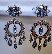 New Authentic Agatha Paris Dangle Chandelier Earrings Crystals Silver Tone