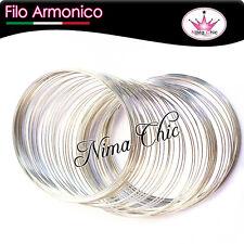 1 bobina di filo armonico 10 spirali da 58mm colore argento minuteria bijoux