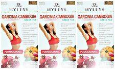 3 PACK OF Hyleys 100% Natural Slim Green Tea Garcinia Cambogia and Pomegranate