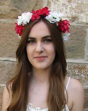 Hot Pink Weiß Hortensie Blüte Haar-krone Kranz Stirnband Kopfschmuck Boho V29