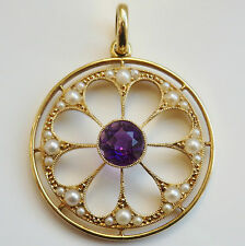 Antique Edwardian 15ct Gold Amethyst & Seed Pearl set Pendant c1905