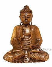 "20"" Large Heavy Hand Carved Wooden Serene Meditating Buddha Art Statue Sculpture"