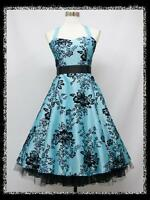 dress190 LIGHT BLUE 50s HALTER FLOCK TATTOO ROCKABILLY PARTY PROM DRESS UK 8-26