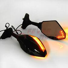 Integrated LED Light Turn Signal Rear View Side Mirror Fit Kawasaki SUZUKI YZF M