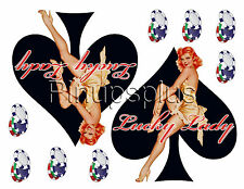 2 Pinup Girl Waterslide Decals Black Spade with poker chips Guitars & More #280