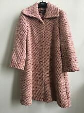 DKNY WOOL TWEED WOMEN TRENCH COAT SIZE 8 PINK PATTERN