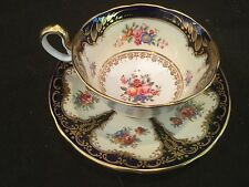 AYNSLEY CHINA COBALT AND GOLD ROES FLORAL TEA CUP AND SAUCER