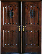 """Knotty Alder Front Exterior Wood Double Entry Door 30""""X80""""X2 Right Hand Swing In"""