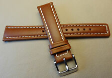Timex Brown 20mm Regular to Long Watch Band Silver Tone Buckle White Stitching