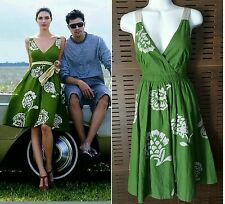 Anthropologie LITHE River Of Grass Dress Green Flora Silk Appliqué & Straps Sz 4