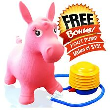 Kids Pink Horse Hopper, Inflatable Jumping Ride-on Bouncy Bouncer +Foot Pump NEW