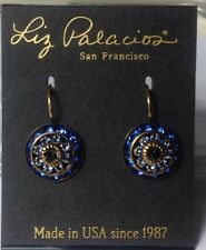 LIZ*PALACIOS*RONDELLE*DANGLE*OCEAN*BLUE*LIGHT*BLUE*CRYSTAL*EARRINGS* GORGEOUS*