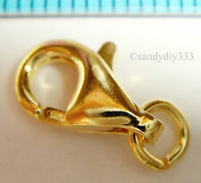2x REAL 18K GOLD plated STERLING SILVER LOBSTER CLASP 11mm G050