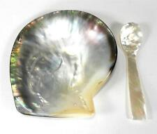 "Black Mother of Pearl Caviar Condiment Server  with Spoon Set 4""  NEW"