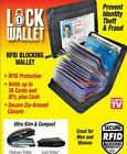 LOCK WALLET AS SEEN ON TV AMAZING SLIM RFID BLACK LEATHER WALLET FRAUD PROTECT